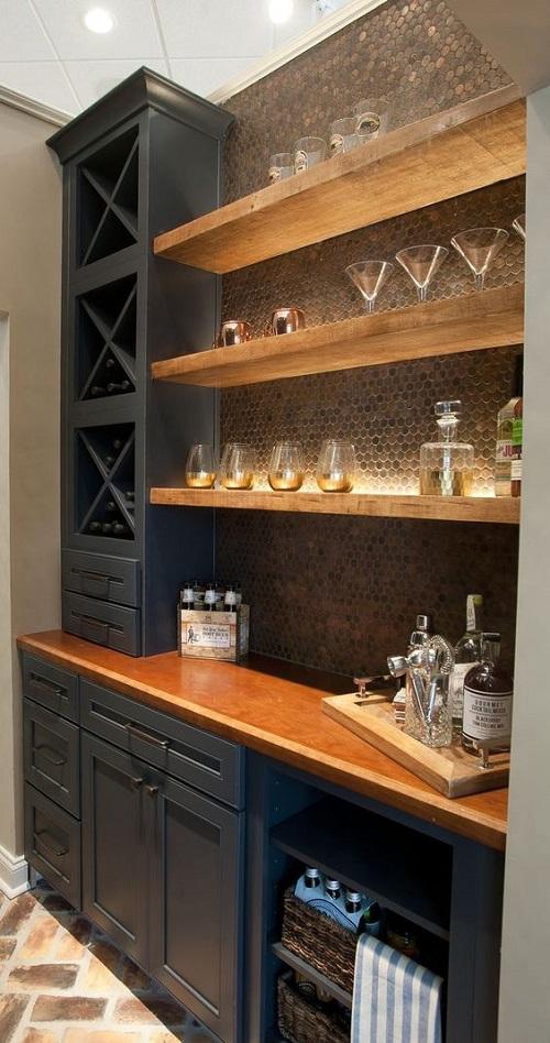 Gạch mosaic thủy tinh màu vàng cho phòng bếp ấn tượng
