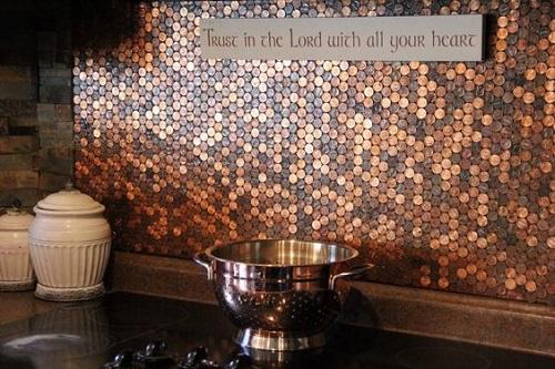 Gạch mosaic thủy tinh màu vàng cho phòng bếp nổi trội