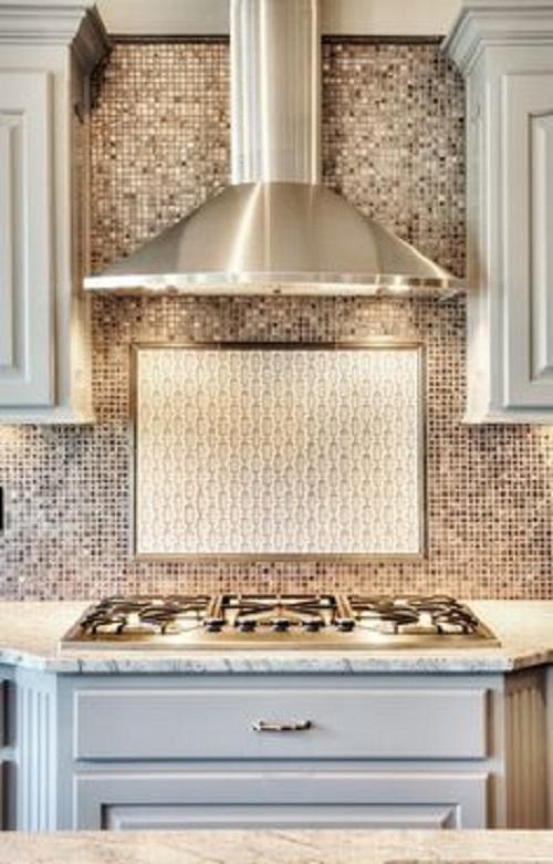 Gạch mosaic thủy tinh màu vàng cho phòng bếp thu hút