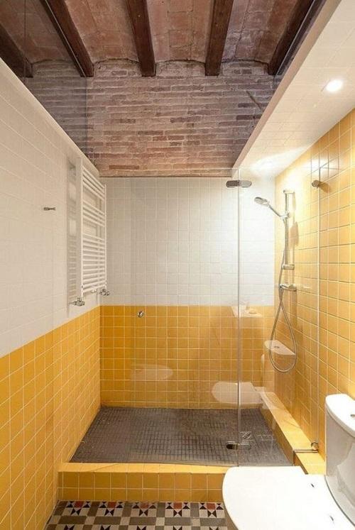 Gạch thẻ màu vàng cho phòng vệ sinh thu hút