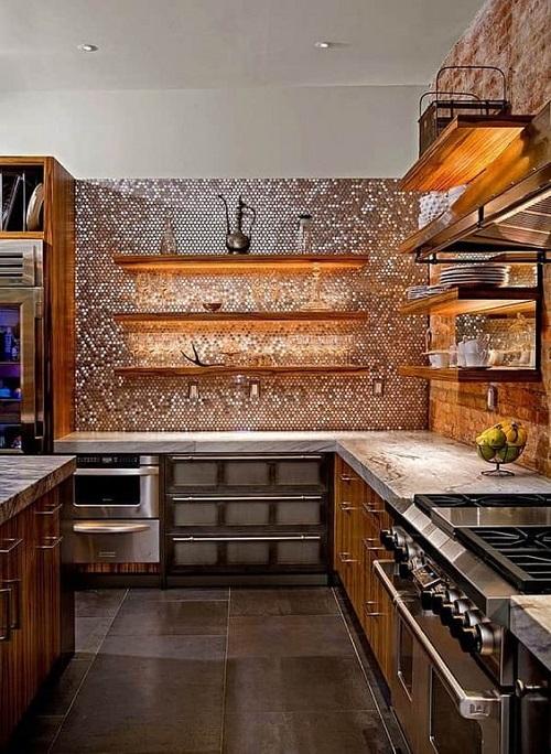 Gạch mosaic thủy tinh màu vàng dùng ốp bếp mang vẻ đẹp của sự bí ấn, quyến rũ