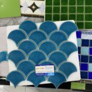 Gạch Gốm Men Rạn Vảy Rồng – Vảy Cá Màu Xanh Biển Ốp Tường