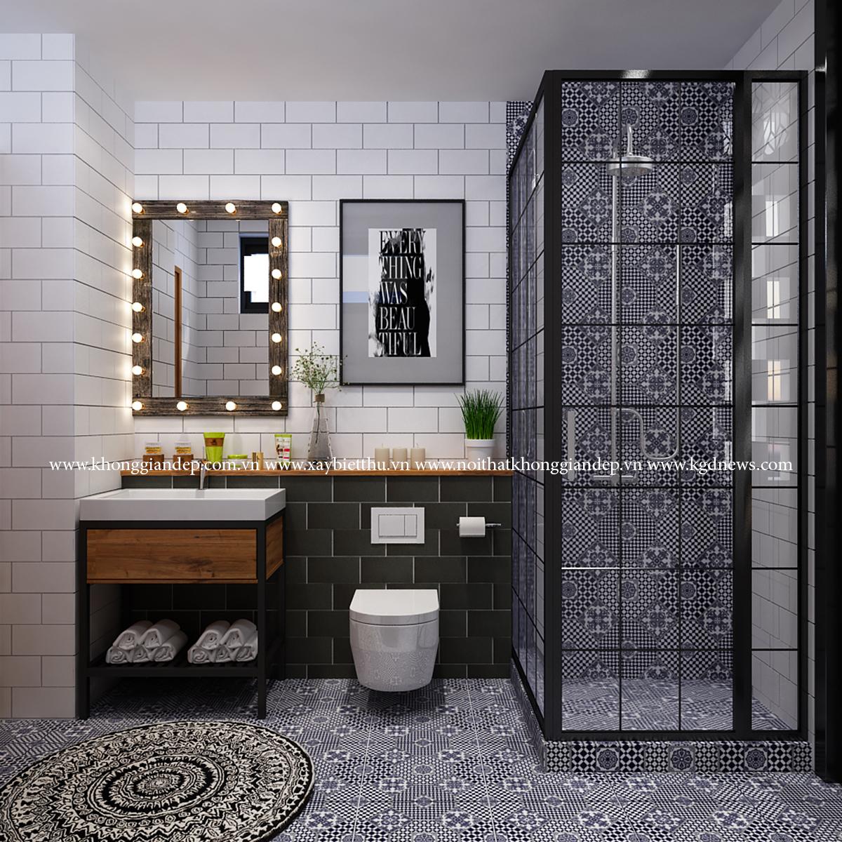 Trang trí bằng Gạch bông vân cổ điển cho phòng vệ sinh sang trọng