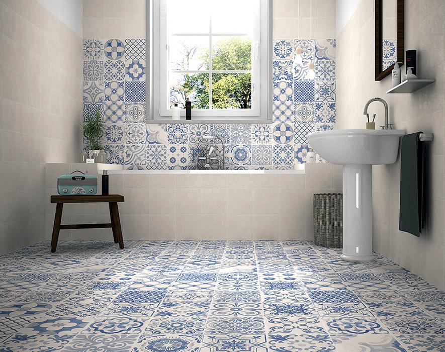 Trang trí bằng Gạch bông vân cổ điển cho phòng vệ sinh hiện đại