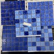 5 Mẫu Gạch Gốm Mosaic Men Rạn Màu Xanh Ốp Hồ Bơi- Phòng Vệ Sinh