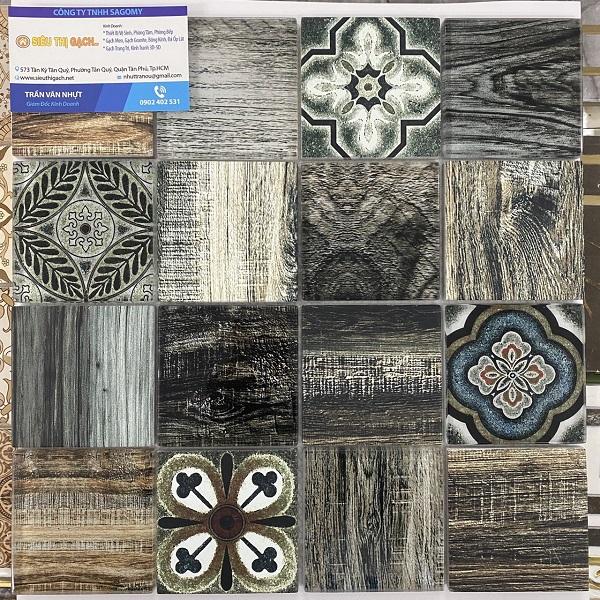 Gạch Mosaic Thủy Tinh Vân Cổ Điển Màu Xanh Rêu