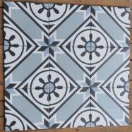 Gạch Bông Cổ Điển Màu Xanh Biển Ghép Ô Vuông Tròn 20×20 Cm