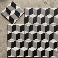Gạch Bông Lát Nền Hình Khối 3D Ghép Trắng Đen Xám