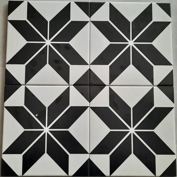 Gạch Bông Men 20×20 Màu Trắng Đen Hình Ngôi Sao