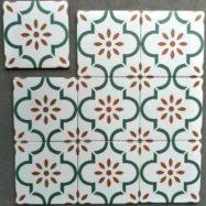 Gạch Bông Men Hình Bông Mai Xanh Trang Trí 20×20 Cm