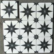 Gạch Bông Men Hình Ngôi Sao Màu Trắng Đen 20×20 Cm