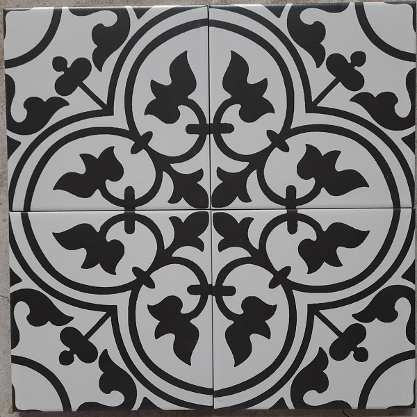 Gạch Bông Men Lát Nền Hoa Văn Màu Trắng Bông Đen 20×20 Cm