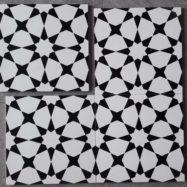 Gạch Bông Men Ốp Tường Hình Ngôi Sao Màu Trắng Đen 20×20 Cm