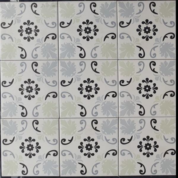 Gạch Bông Men Ốp Tường Hoa Văn Màu Xanh 20×20 Cm