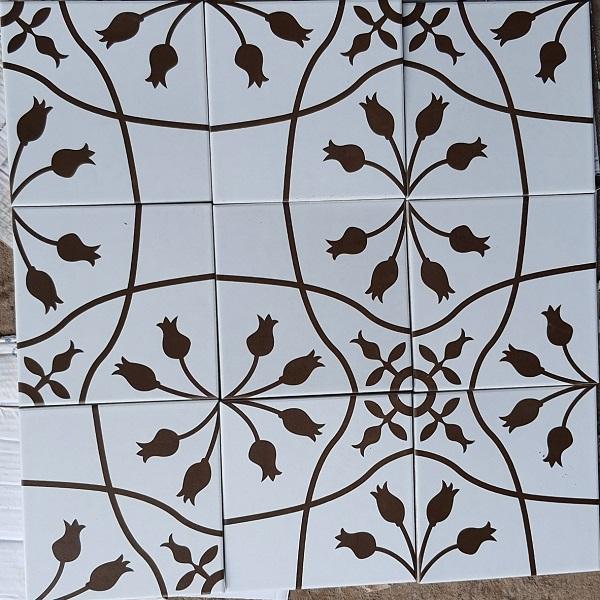 Gạch Bông Men Trang Trí 20×20 Cm Màu Trắng Đường Hoa Văn Đen
