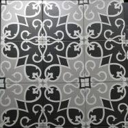 Gạch Bông Men Vân Cổ Điển Màu Xám Đen Trang Trí 20×20 Cm