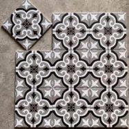 Gạch Bông Men 20×20 Bông Hoa Màu Trắng Đen Xám 20×20 Cm