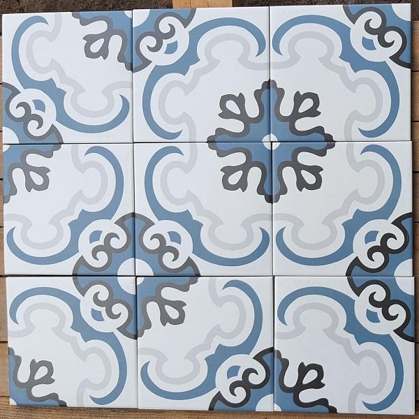 Gạch Bông Men Màu Xanh Biển 20×20 Cm Lát Nền Phòng Vệ Sinh
