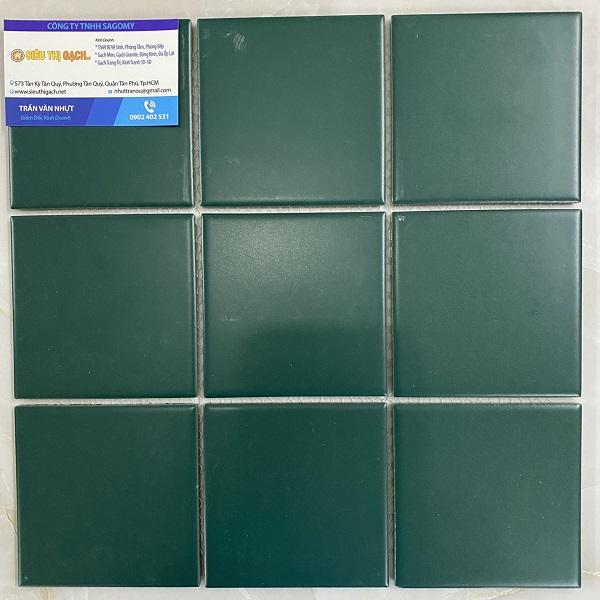 Gạch Đá Ốp Tường 10×10 Cm Màu Xanh Rêu Men Mờ