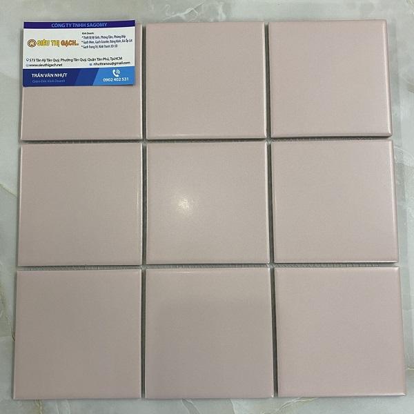 Gạch Đá Ốp Tường 10×10 Cm Màu Hồng Nhạt Men Mờ Mosaic