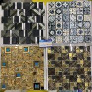 Gạch Mosaic Thủy Tinh Vân Cổ Điển Màu vàng – Màu Xanh