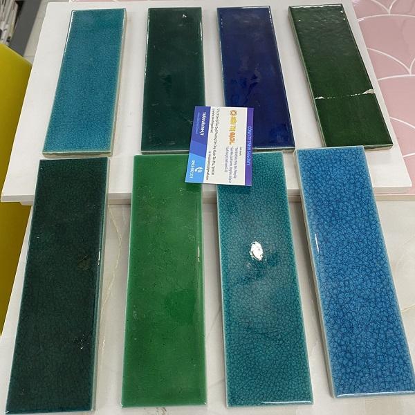 Gạch Thẻ Màu Xanh Biển – Xanh Dương – Xanh Ngọc Men Rạn 6×20 Cm