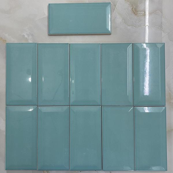 Gạch Ốp Tường Màu Xanh Ngọc Bích 7.5×15 Cm Bóng Vát Cạnh