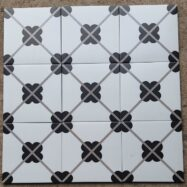 Gạch Bông Men Hoa Văn Màu Trắng Đen 20×20 Cm