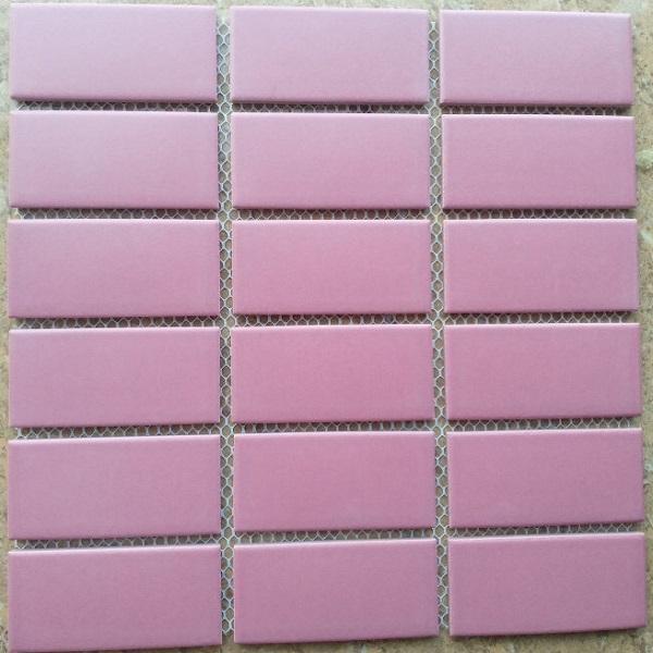 Gạch Mosaic Gốm Màu Hồng 4.5×9 Cm Ốp Lát Phòng Vệ Sinh