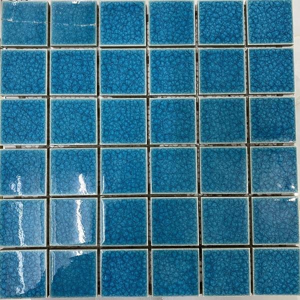 Gạch Mosaic Gốm Màu Xanh Ngọc Men Rạn Ốp Lát Hồ Bơi