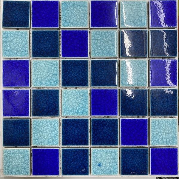 Gạch Gốm Mosaic Ốp Lát Hồ Bơi Hỗn Hợp 3 Màu Xanh