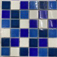 Gạch Mosaic Sử Dụng Hồ Bơi 3 Màu Hỗn Hợp Trắng Xanh Men Rạn