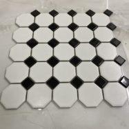 Gạch Gốm Mosaic Bát Giác Màu Trắng Đen Bóng Ốp Tường