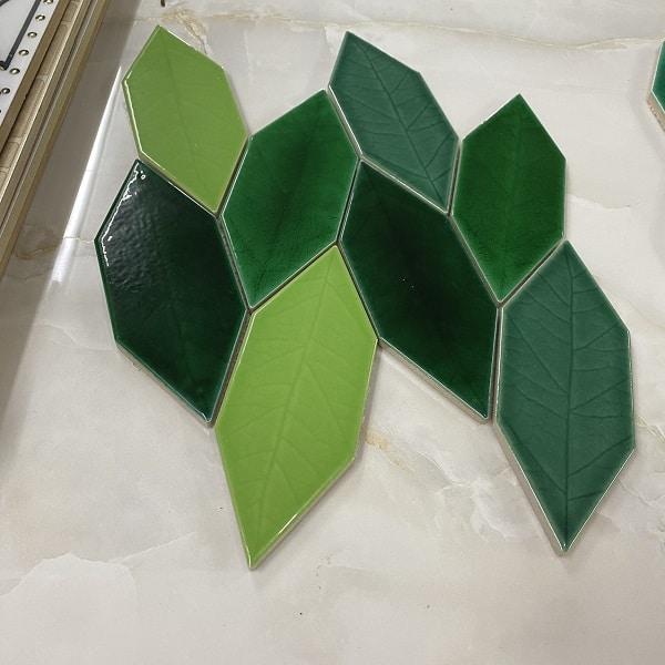 Gạch Mosaic Hình Chiếc Lá Màu Xanh Lá Cây