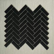Gạch Mosaic Gốm Màu Đen Ốp Hình Xương Cá Cho Phòng Tắm