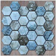 Gạch Mosaic Lục Giác Màu Xám Xanh Vân Đá Ốp Lát Phòng Vệ Sinh