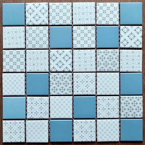 Gạch Mosaic Gốm Màu Xanh Trắng Hỗn Hợp Ốp Lát Phòng Vệ Sinh