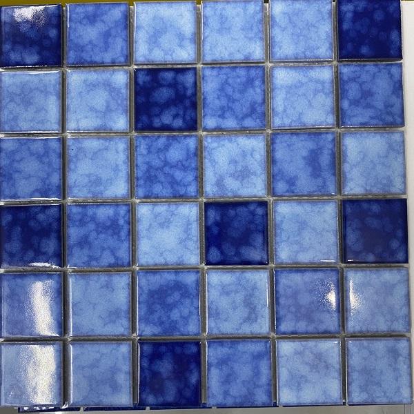 Gạch Mosaic Gốm Màu Xanh Hỗn Hợp Ốp Lát Hồ Bơi