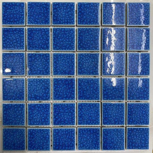 Gạch Mosaic Gốm Men Rạn Màu Xanh Ốp Lát Hồ Bơi Cao Cấp