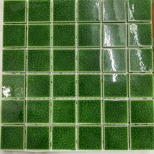Gạch Mosaic Gốm Men Rạn Xanh Lá Cây Ốp Lát Hồ Bơi