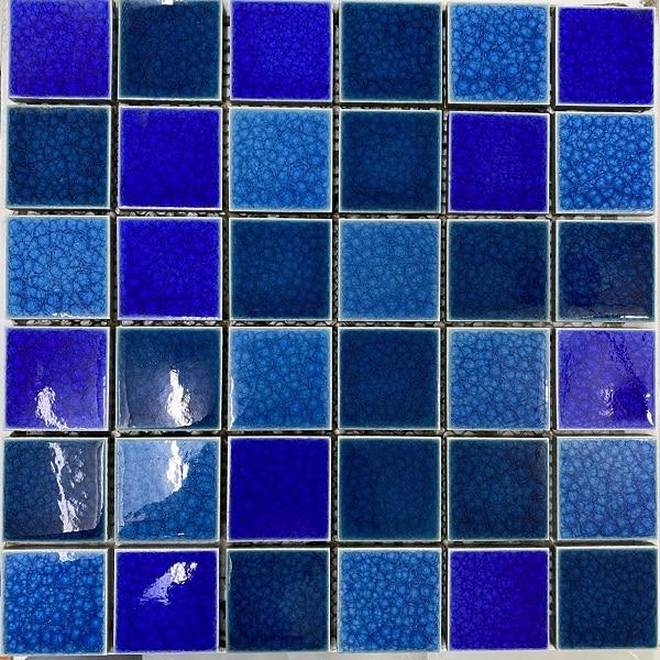 Gạch Mosaic Gốm Mix Màu Xanh Men Rạn Ốp Lát Hồ Bơi