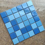 Gạch Mosaic Gốm Màu Xanh Nước Biển Hỗn Hợp Ốp Lát Hồ Bơi
