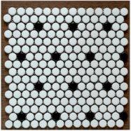 Gạch Mosaic Gốm Viên Bi Tròn Màu Trắng Chấm Đen Ốp Phòng Tắm