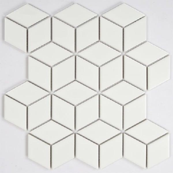 Gạch Mosaic Hình Thoi Lục Giác Màu Trắng Ốp Bếp Phòng Tắm