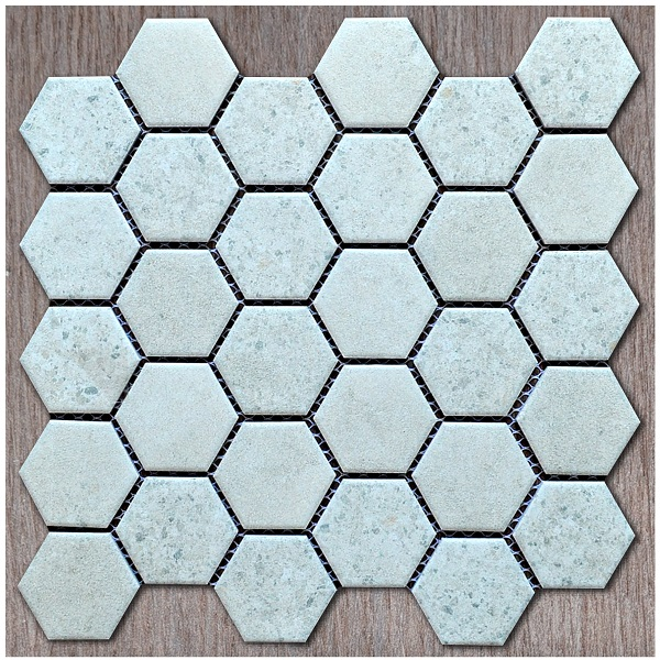 Gạch Mosaic Lục Giác Màu Xám Vân Đá Men Mờ Matt Ốp Phòng Vệ Sinh