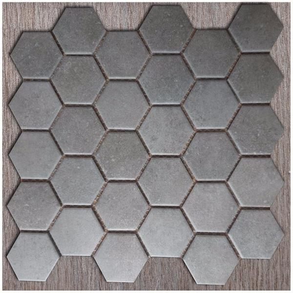 Gạch Mosaic Lục Giác màu Xám Đen Vân Đá Ốp Phòng Tắm Vệ Sinh