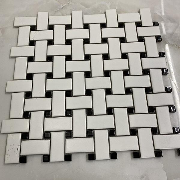 Gạch Mosaic Đan Lưới Chữ Nhật Màu trắng Đen Ốp Tường
