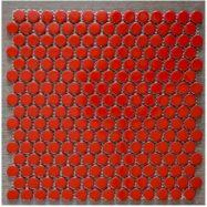 Gạch Mosaic Tròn Màu Đỏ Tươi Bóng Ốp Phòng Tắm Bếp