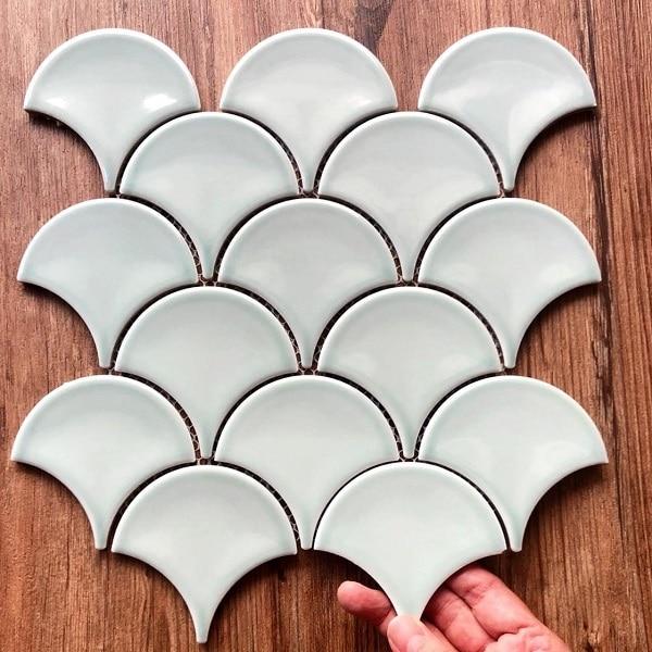 Gạch Mosaic Vảy Cá Màu Xanh Bóng Ốp bếp – Phòng Tắm