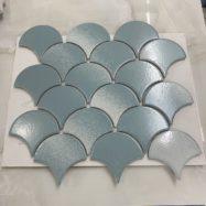 Gạch Mosaic Gốm Vảy Cá Màu Xanh Ốp Bếp – Phòng Vệ Sinh